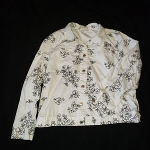 Charter Club White Embroidered Jean Jacket Size XL